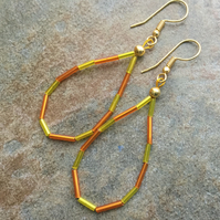 Yellow & Orange Bugle Bead Hoop Earrings, Boho Festival Earrings