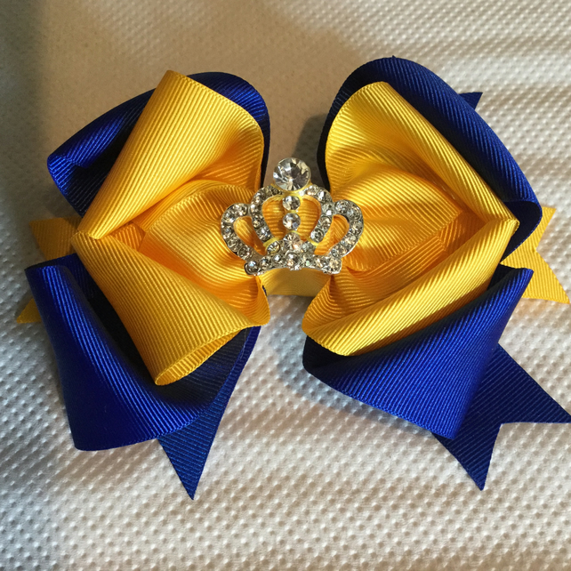 Princess crown hair clip or bobble in school colours