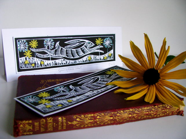 'Springtime Hare' blank bookmark card (birthdays and other occasions)