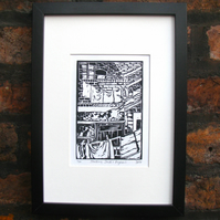 'Stalking Jack's Pigeons' Lino Print (Inspired by Coronation Street)
