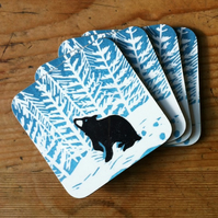 'Stargazey Bear' coasters (Set of four)