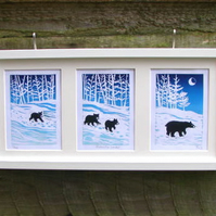 'Follow the Leader' Mother bear and cubs lino print triptych