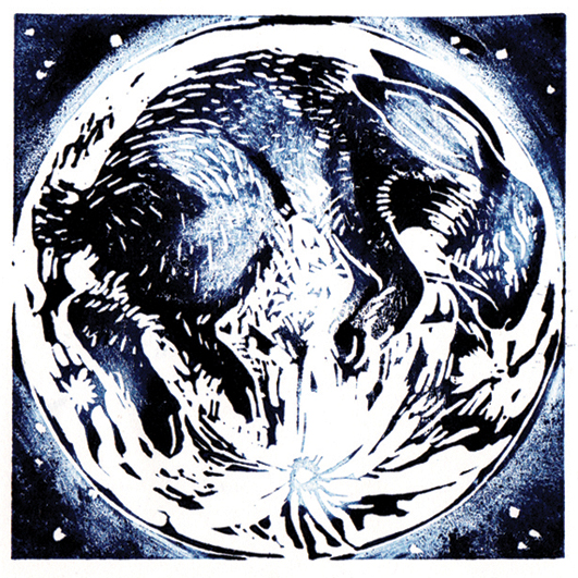 'Blue Moon Rabbit' Lino Print