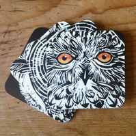 Owl Coasters (set of four recycled hardboard coasters)