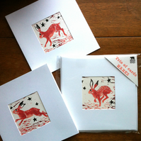'Trio of Hares' blank cards for Easter and other occasions (Set of 3)