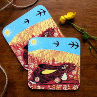 Hare Meadow coasters (Set of two)