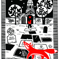 'Meet Me At The Cemetery Gates' Lino Print with Foxes