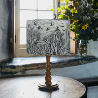 'The Rookery' lino print design drum lampshade