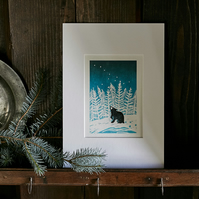 'Stargazey Bear' Giclee Reproduction Lino Print (A4 size)