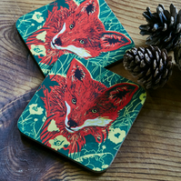 'Fox Amongst Buttercups' coasters (Set of two)