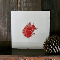 'Little Red Squirrel' Limited Edition Lino Print