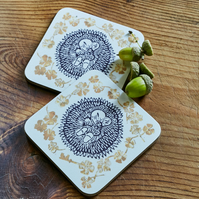 'Secret Dreams' hedgehog coasters (set of two)