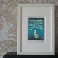 'To The North Pole' Polar Bear Lino Print
