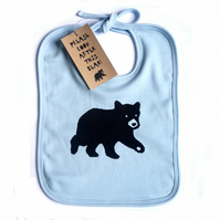 'Baby Bear Blue' Organic Cotton Bib