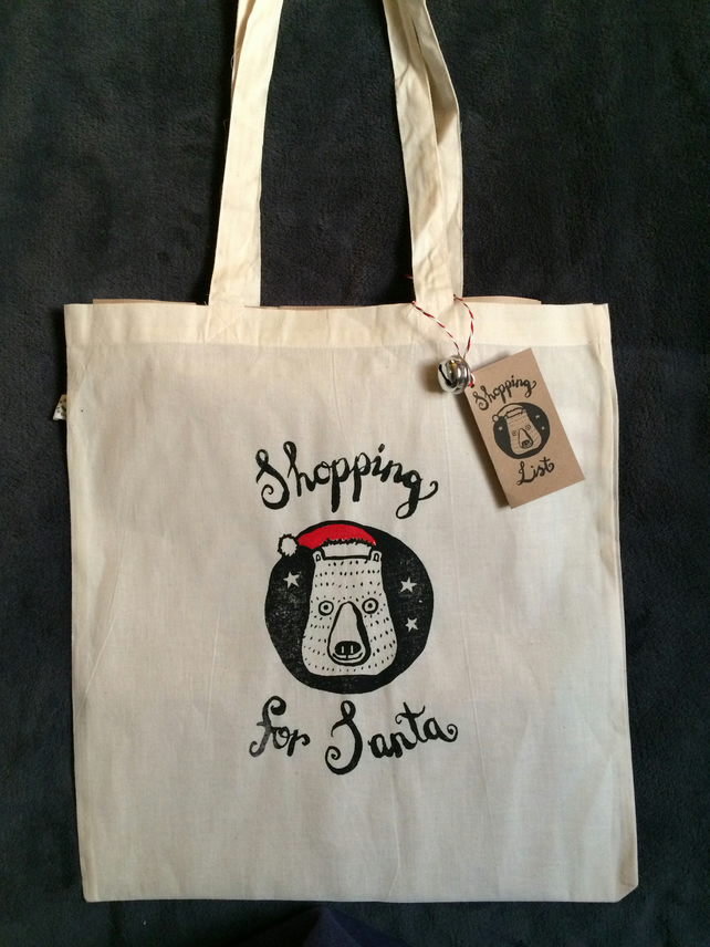 'Shopping For Santa' Xmas Tote Bag