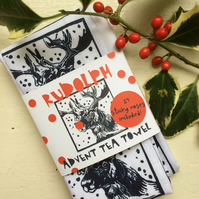 'Rudolph' Advent Tea Towel