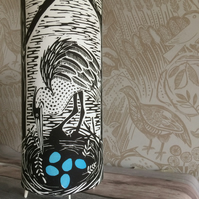 'Heron's Nest' Lino Print Table Lamp