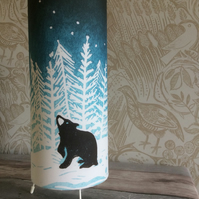'Stargazey Bear' Lino Print Design Drum Table Lamp