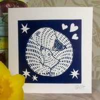 'Mother and Baby Bear' Hand Pressed Original Lino Print Card (Mothers Day)