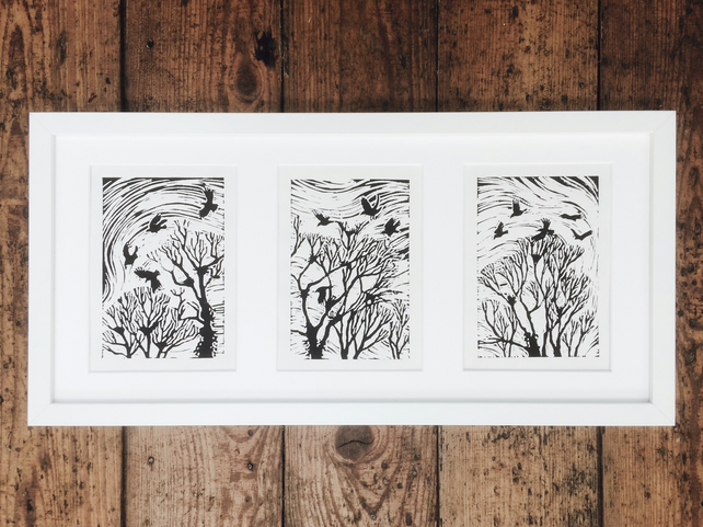 'The Rookery' Triptych Lino Print
