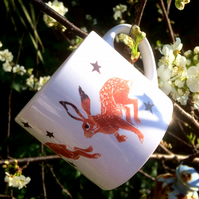 'Trio of Hares' Mug for birthdays, christenings and other occasions