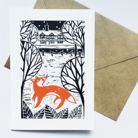 'Fox On The Green' blank card