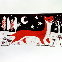 'Wintertime Weasel' Limited Edition Original Lino Print