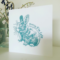 'Sorry I'm Late' Bunny Rabbit linocut handpressed card