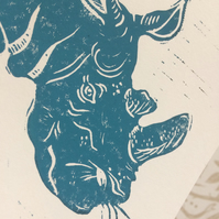 'Remember Sudan' charity lino print for Save The Rhino