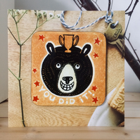 'You Did It!' Bear coasterCARD (Exams, Tests or Results Present)
