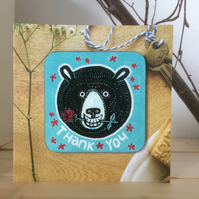 'Thank You' Bear coasterCARD (occasion greeting card)