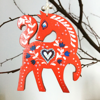'Little Wooden Horse' Christmas Tree Decoration (Hand painted & personalised)