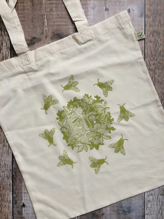 Green Man Eco Tote Bag (Hand Printed Organic Cotton)