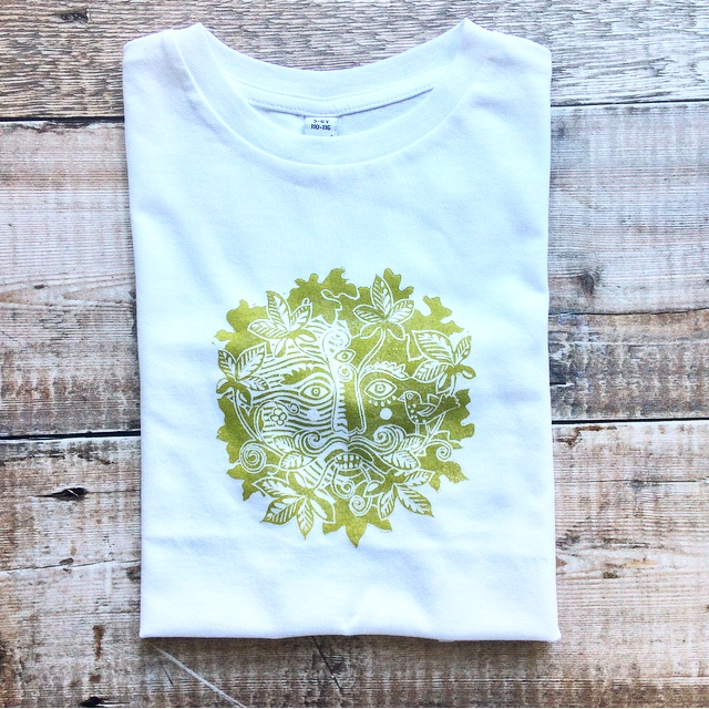 'Green Man' Hand Printed Child's Organic Cotton T Shirt