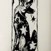 'Dog Star' Wild (Painted) Dog limited edition lino print