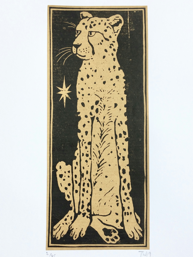 'Cheetah' limited edition Lino print