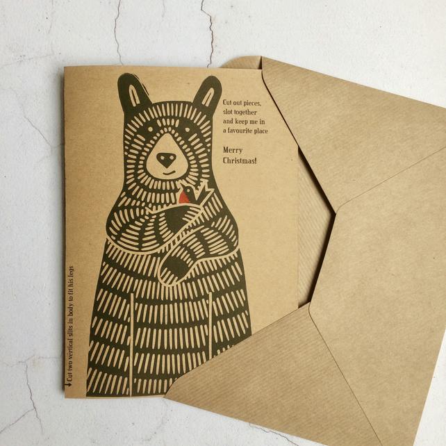 Bear Cub & Robin Limited Edition Xmas Card - Make Your Own (donation to OBRC)