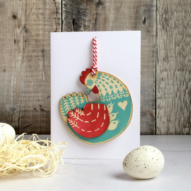 'Mother Hen' Hand Printed Wooden Charm Easter Decoration