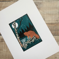 'Beaver Moon' Original Limited Edition Lino Print