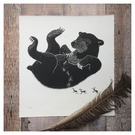 'Tummy Tickle' Sun Bear Original Lino Print