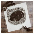 'Hibernate' Mother & Baby Bear Original Linocut Print