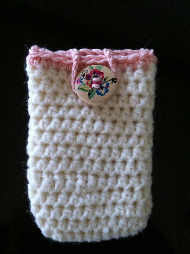 Cream Alpaca Wool Crochet phone case