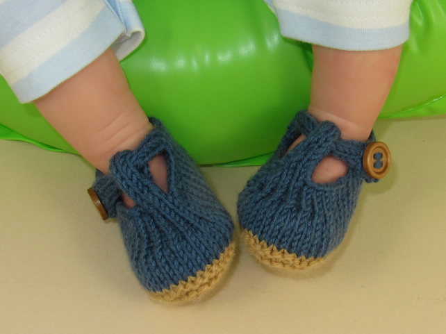 Free Knitting Patterns For Baby Sandals : Baby T Bar Sandals pdf download knitting patter... - Folksy