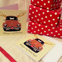 Retro VW Beetle Reindeer Christmas Card