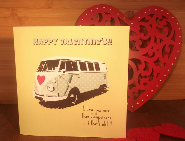 Fun Retro Campervan Valentine Card