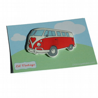 Retro Campervan Brooch - Red Splitty