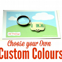 Vintage Caravan Keyring  - Custom Colours