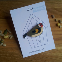 Goldfinch Bird Brooch
