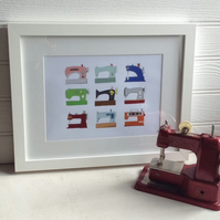 A4 Retro Vintage Sewing Machine Print