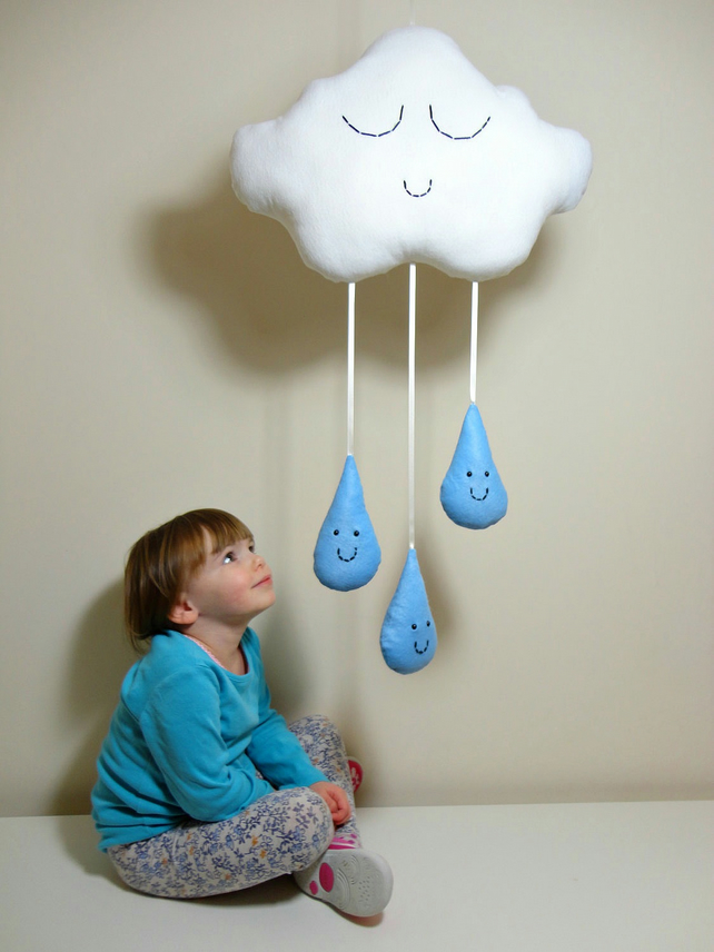 CLOUD & RAINDROPS MOBILE White Rain Cloud with Light Blue Raindrops Baby Shower